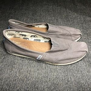 TOMS Gray Slip-Ons. Used Condition.